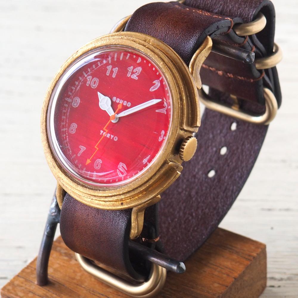 GENSO(ゲンソウ) 手作り腕時計 ミリタリーカジュアル レッド ミリタリーウォッチ 赤文字盤 NATOレザーベルト[MCR-BS2]