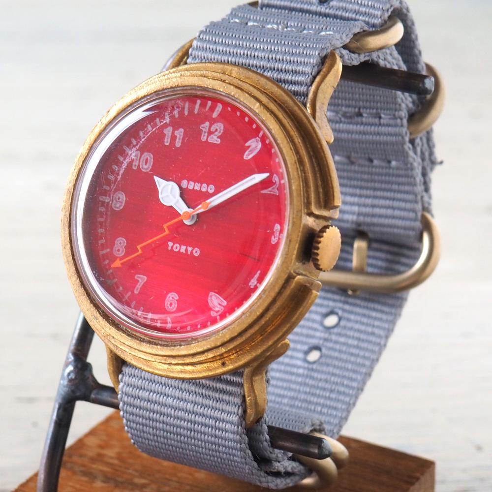 GENSO(ゲンソウ) 手作り腕時計 ミリタリーカジュアル レッド ミリタリーウォッチ 赤文字盤 NATOナイロンベルト[MCR-BS3]