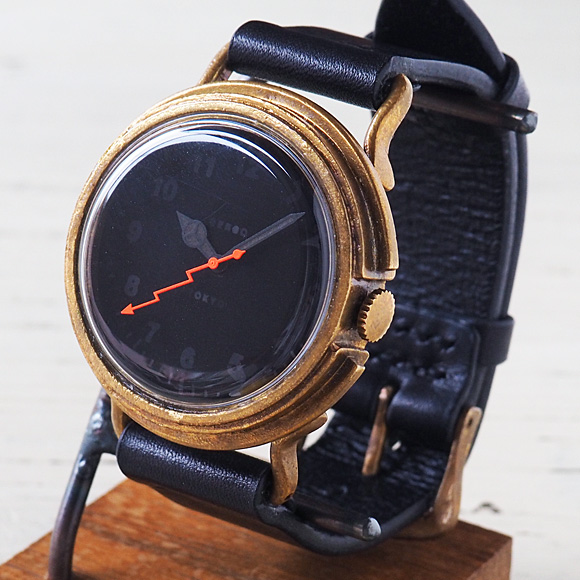 """GENSO(ゲンソウ) 手作り腕時計 """"Second"""" ミニマルウォッチ ブラック文字盤 真鍮 イタリアンレザーベルト[SECO-BL-BS1]"""