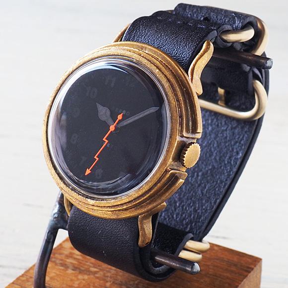 "GENSO(ゲンソウ) 手作り腕時計 ""Second"" ミニマルウィッチ ブラック文字盤 真鍮 NATOレザーベルト[SECO-BL-BS2]"