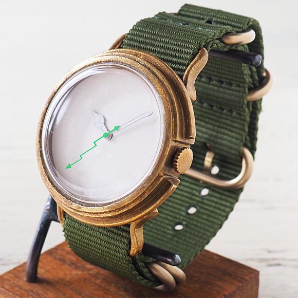 "GENSO(ゲンソウ) 手作り腕時計 ""Second"" ホワイト文字盤 真鍮 NATOナイロンベルト[SECO-WH-BS3]"