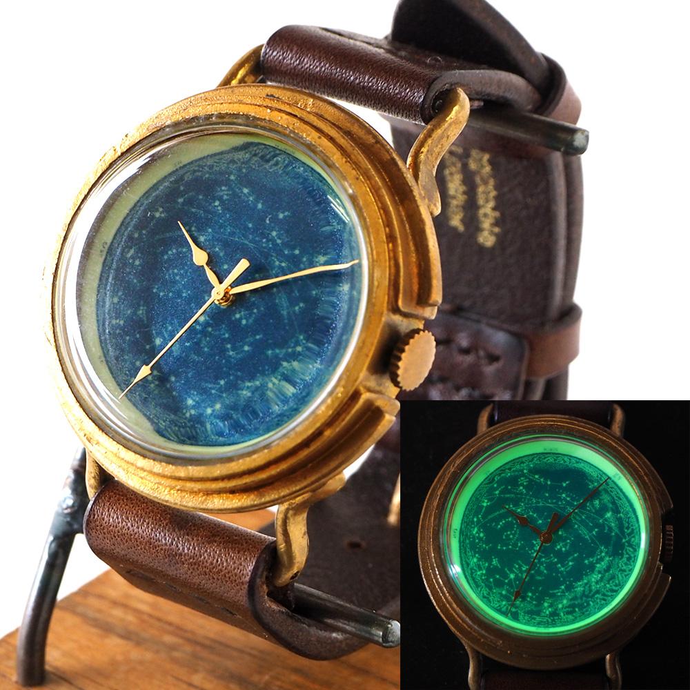 "GENSO(ゲンソウ)手作り腕時計 ""天体観測"" ルミノーバ蓄光文字盤 真鍮 イタリアンレザー Lサイズ メンズ・レディース[TEN-BS1]"