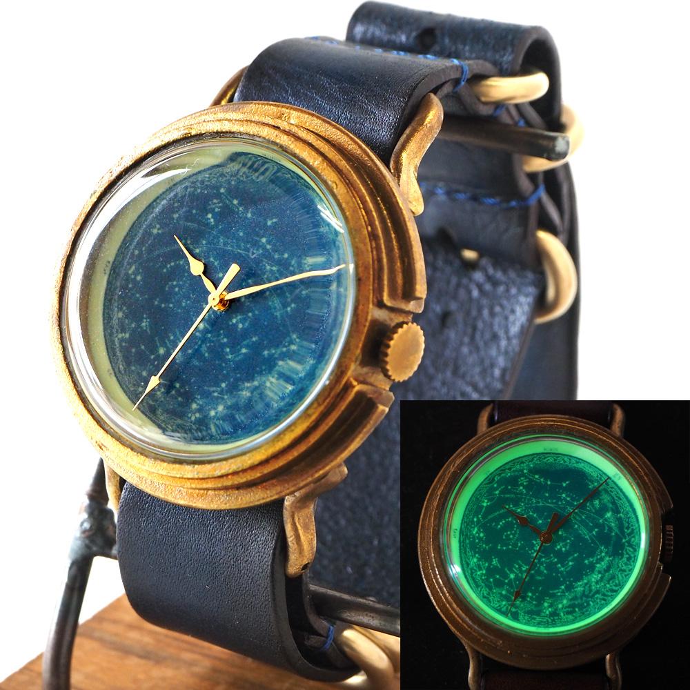 "GENSO(ゲンソウ)手作り腕時計 ""天体観測"" ルミノーバ蓄光文字盤 真鍮 NATOレザーベルト  Lサイズ メンズ・レディース[TEN-BS2]"