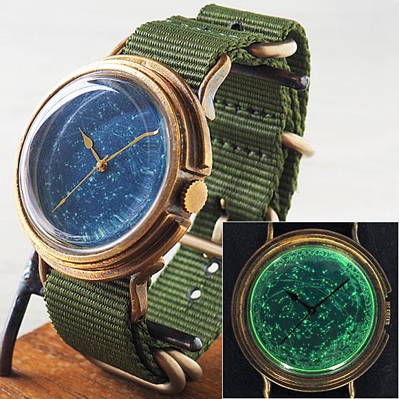 "GENSO(ゲンソウ)手作り腕時計 ""天体観測"" ルミノーバ蓄光文字盤 真鍮 NATOナイロンベルト メンズ・レディース[TEN-BS3]"