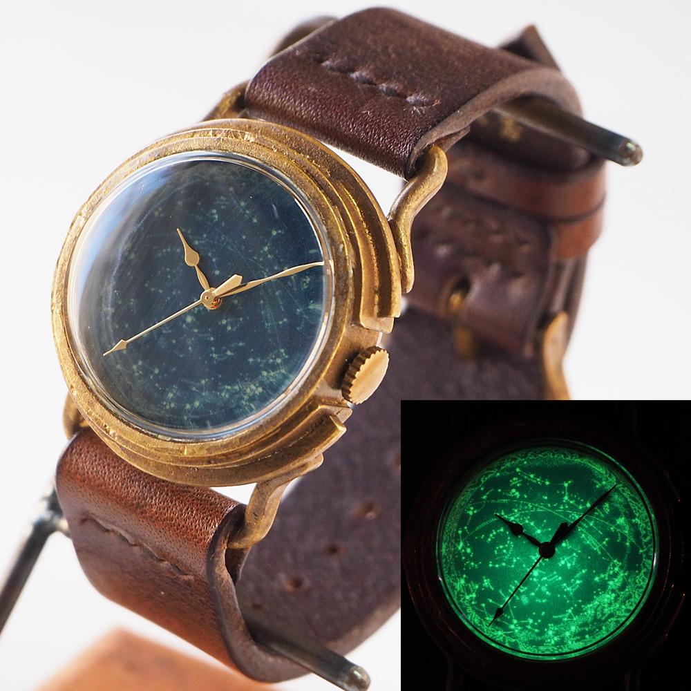 "GENSO(ゲンソウ)手作り腕時計 ""天体観測"" ルミノーバ蓄光文字盤 真鍮 イタリアンレザー  Mサイズ メンズ・レディース[TEN-M-BS1]"