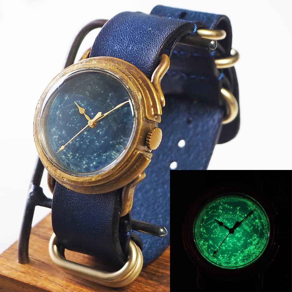 "GENSO(ゲンソウ) 手作り腕時計 ""天体観測"" ルミノーバ蓄光文字盤 真鍮 NATOレザーベルト Mサイズ [TEN-M-BS2]"