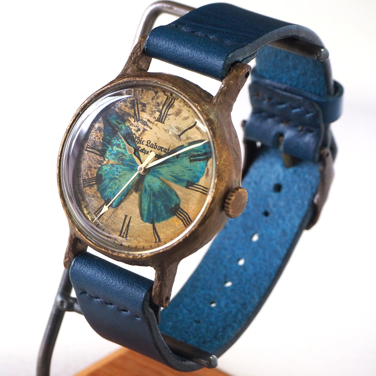 """手作り腕時計 """"モルフォ蝶の腕時計"""" クラシック Lサイズ [GL-CW-MP-M]"""
