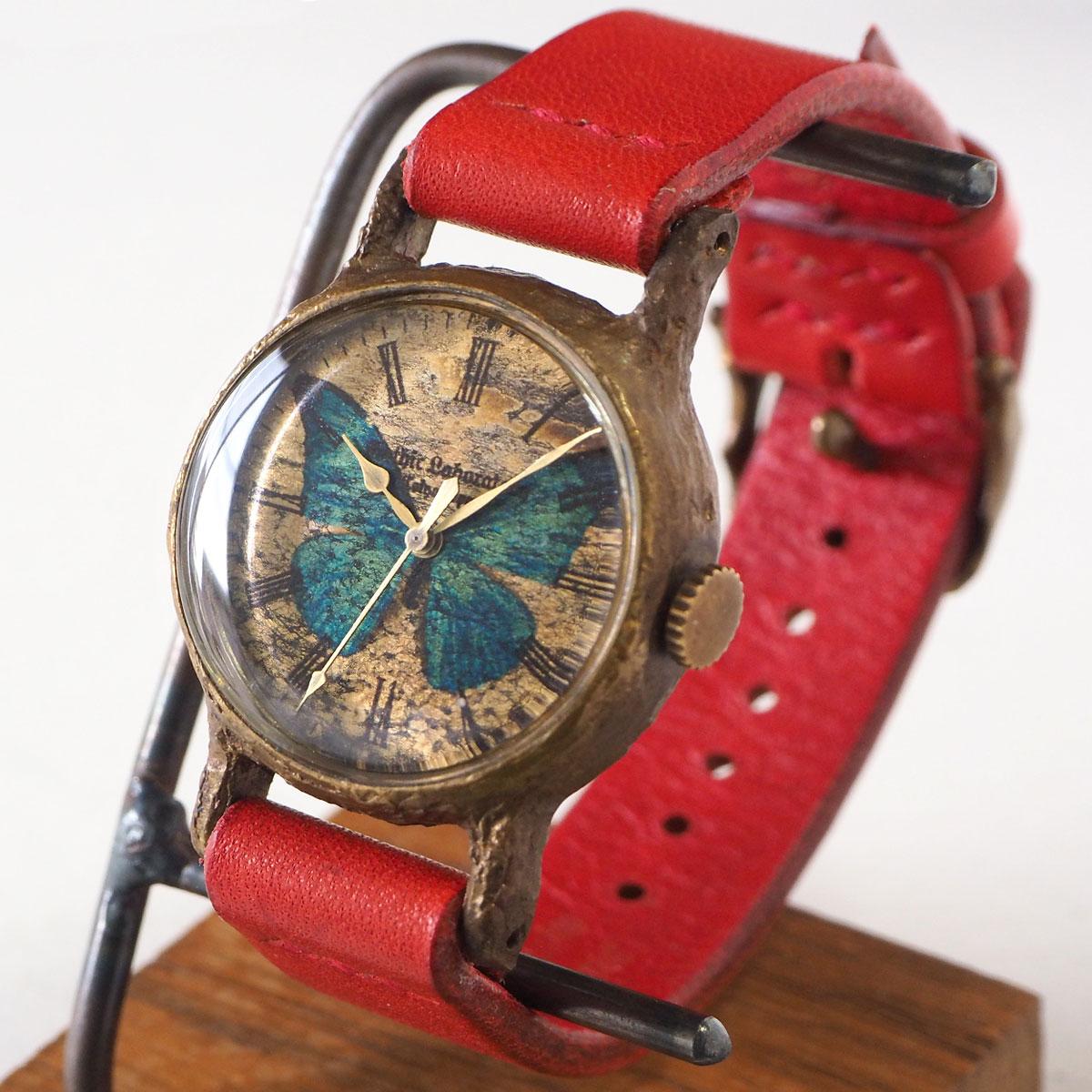 """手作り腕時計 """"モルフォ蝶の腕時計"""" クラシック Mサイズ [GL-CW-MP-L]"""