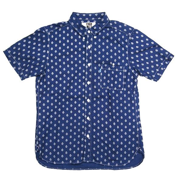 graphzero(グラフゼロ)シショートスリーブループボタンダウンシャツ 花柄ウォバッシュ [GZ-BD-SS-SH2504-H]