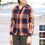 【3色から選べます】graphzero(グラフゼロ) フライフロント ネルシャツ インディゴロープ染め 長袖 チェック レディース [GZ-FFLSSH-2810-LADIES]