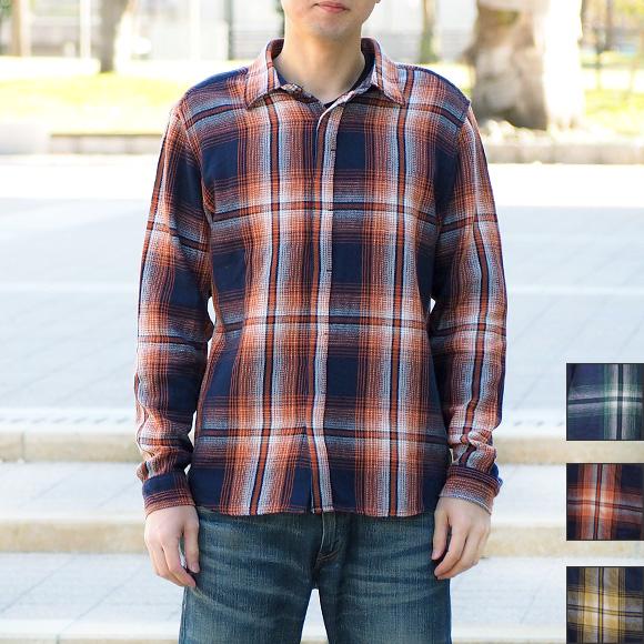 graphzero(グラフゼロ) フライフロント ネルシャツ インディゴロープ染色 長袖 チェック メンズ [GZ-FFLSSH-2810-MENS]