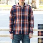 【3色から選べます】graphzero(グラフゼロ) フライフロント ネルシャツ インディゴロープ染め 長袖 チェック メンズ [GZ-FFLSSH-2810-MENS]