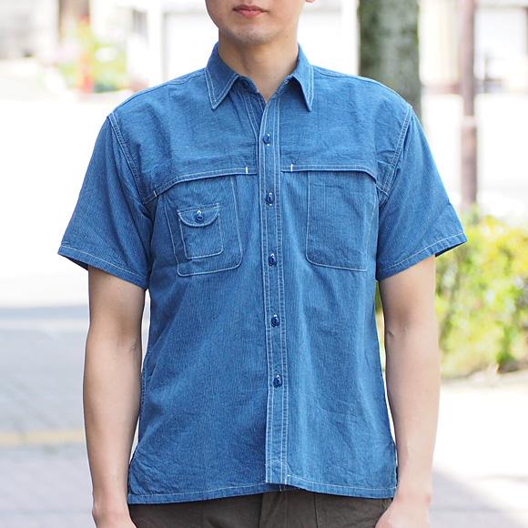 graphzero(グラフゼロ)フィッシングシャツ 半袖 インディゴストライプ メンズ[GZ-FWS-2904-MENS]