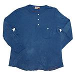 graphzero(グラフゼロ)裏パイル ヘンリーネックロングTシャツ 印度藍染め [GZ-HLS001-AI]