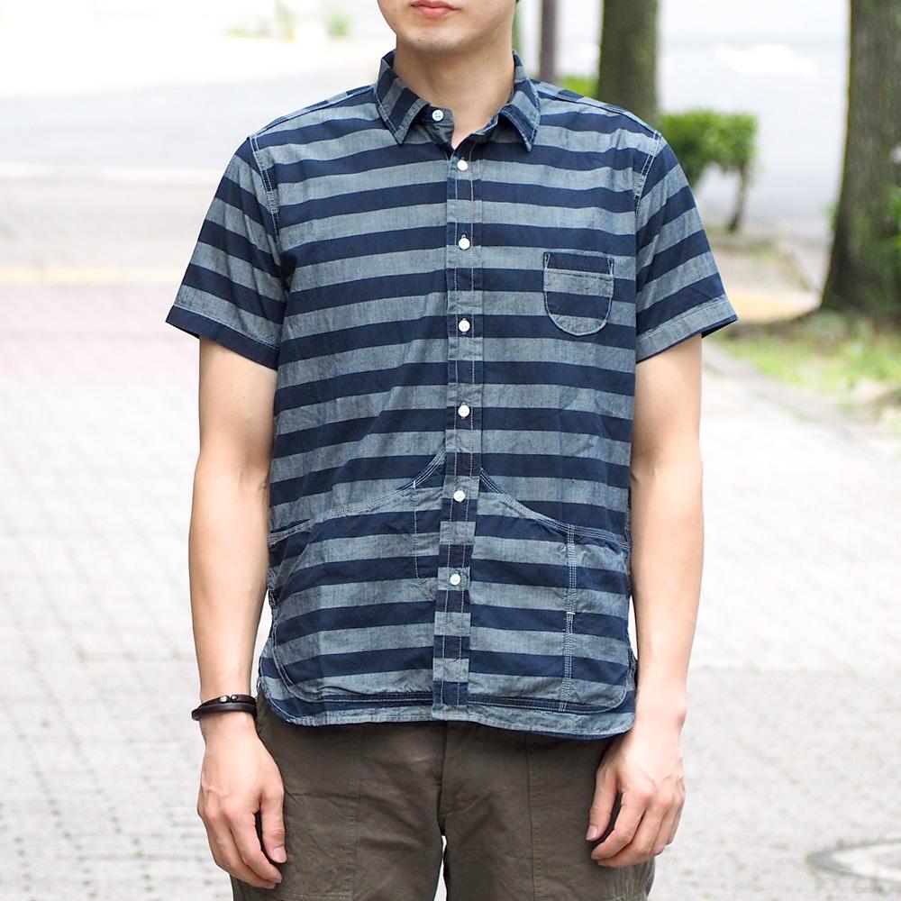 graphzero(グラフゼロ) ヘムポケットシャツ 半袖 グレーボーダー メンズ [GZ-HMPKS-BD-MENS]