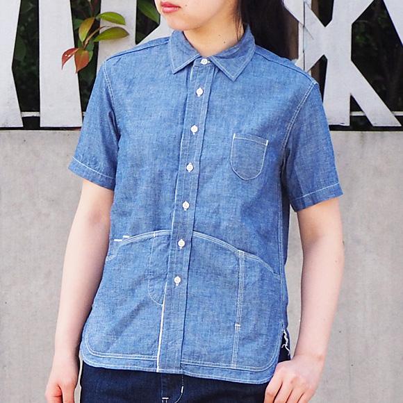 graphzero(グラフゼロ) ヘムポケットシャツ 半袖 セルビッチシャンブレー レディース [GZ-HMPKS-3004-CM-LADIES]