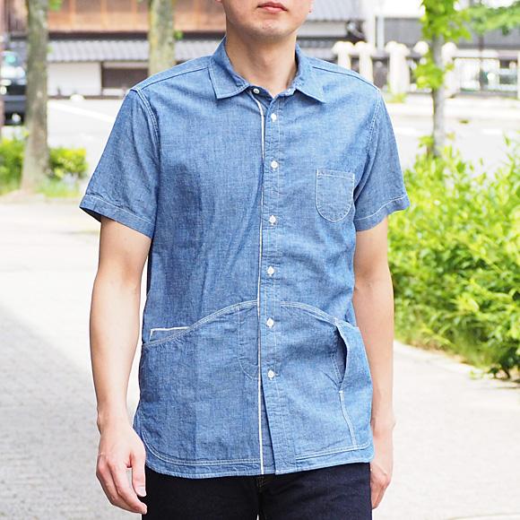 graphzero(グラフゼロ) ヘムポケットシャツ 半袖 セルビッチシャンブレー メンズ [GZ-HMPKS-3004-CM-MENS]