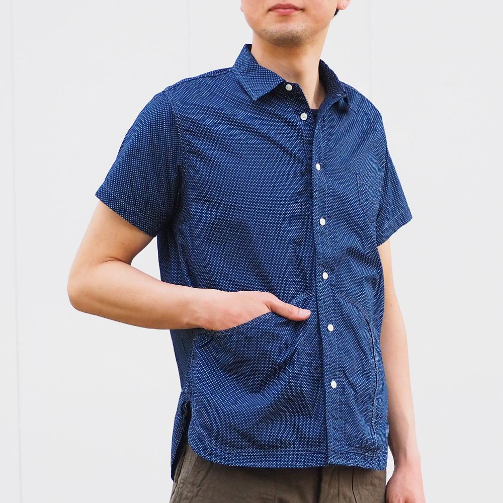 graphzero(グラフゼロ) ヘムポケットシャツ 半袖 インディゴ 抜染 ドット メンズ [GZ-HMPKS-3104-DOT-MENS]