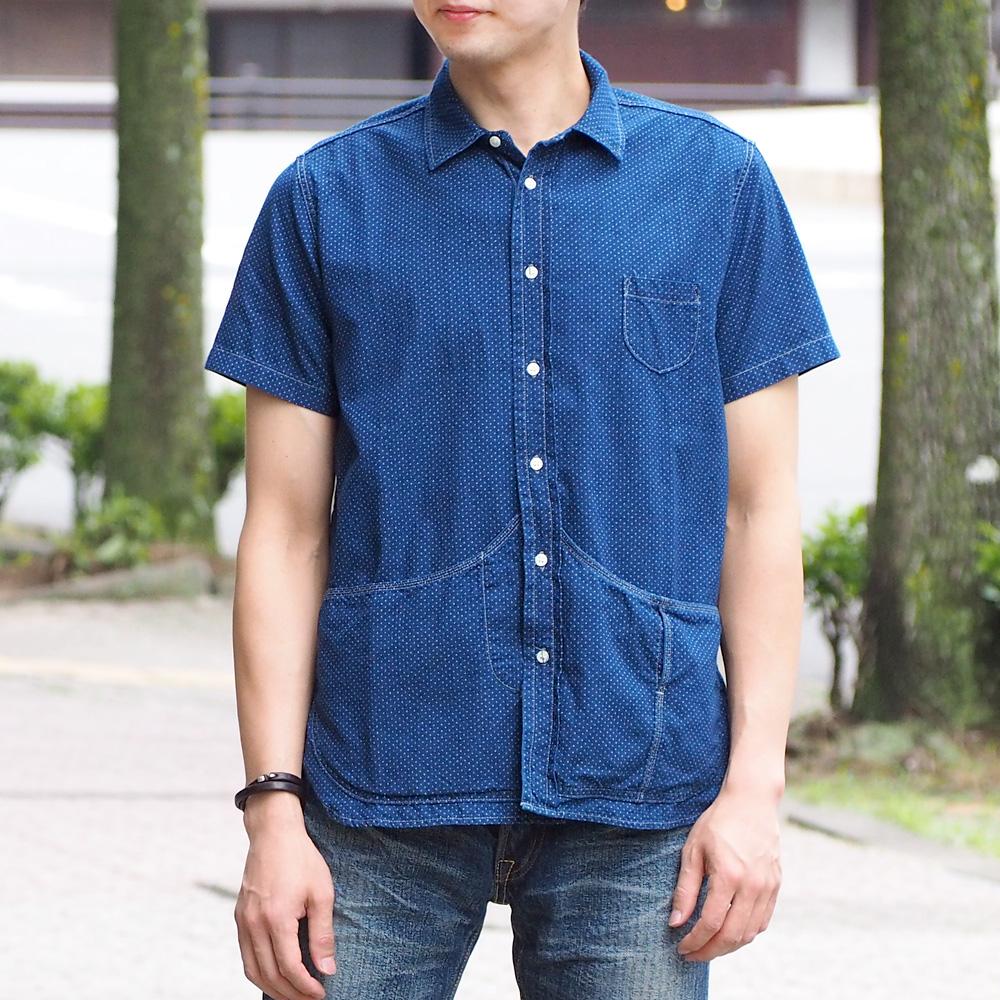 graphzero(グラフゼロ) ヘムポケットシャツ 半袖 インディゴ抜染ドット柄 メンズ [GZ-HMPKS-DT-MENS]