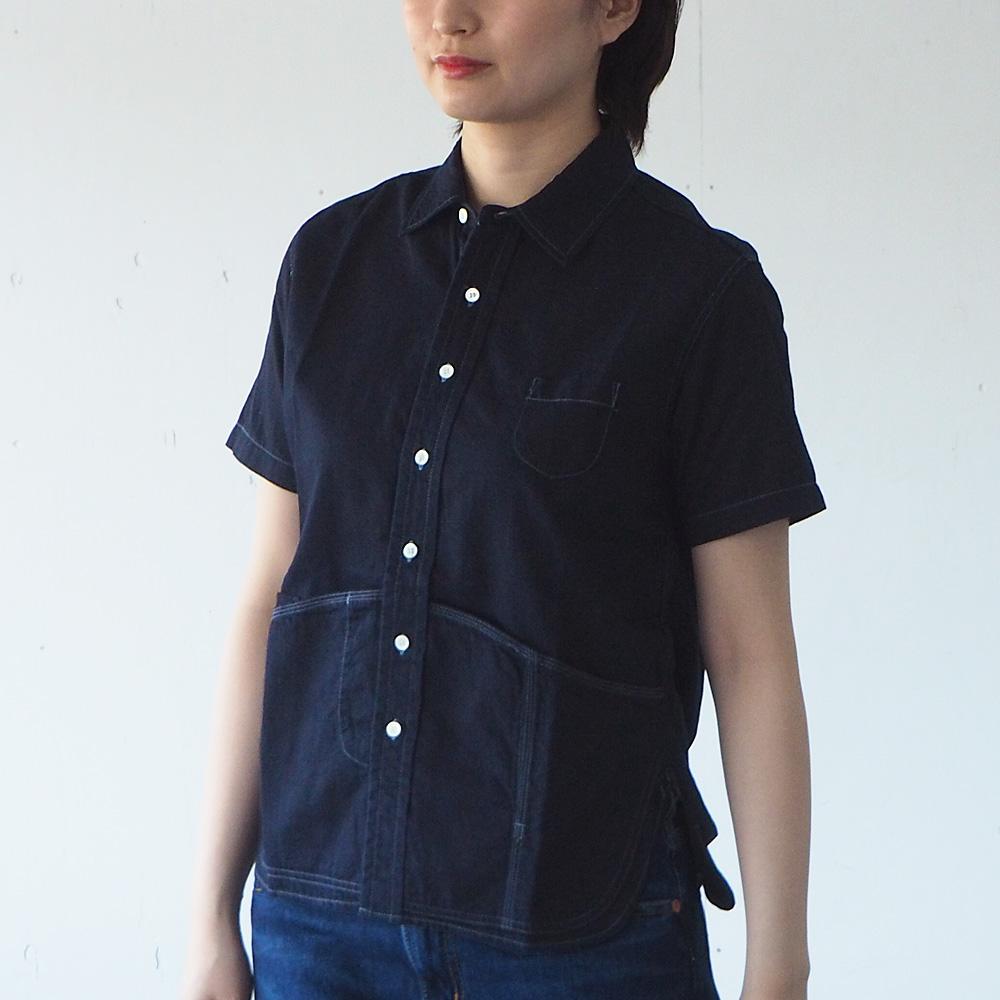 graphzero(グラフゼロ) ヘムポケットシャツ 半袖 ジンバブエコットン インディゴ レディース [GZ-HMPKS-3104-ID-LADIES]