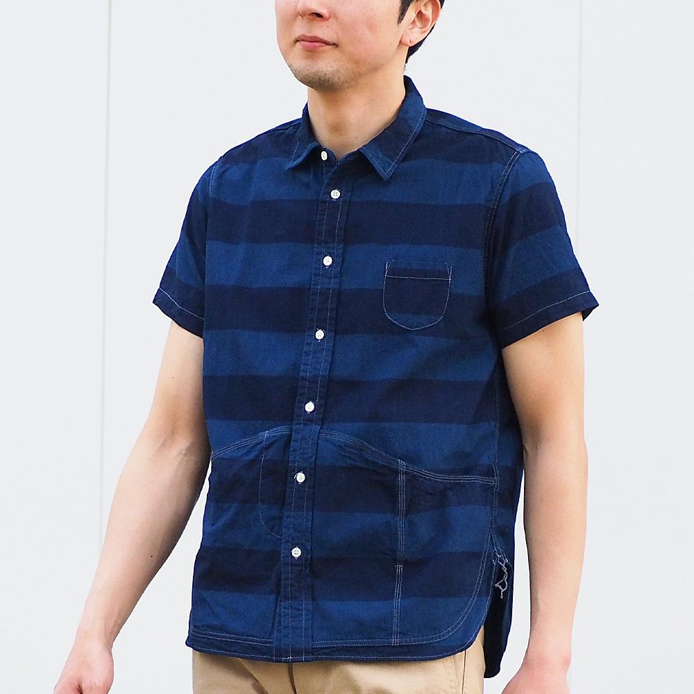 graphzero(グラフゼロ) ヘムポケットシャツ 半袖 インディゴボーダー メンズ [GZ-HMPKS-3104-IDBD-MENS]