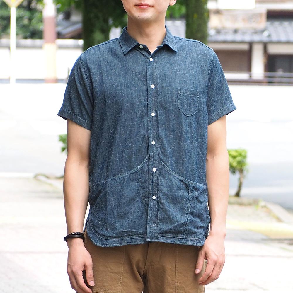 graphzero(グラフゼロ)ヘムポケットシャツ 半袖 ネップデニム グレー メンズ [GZ-HMPKS-NP-MENS]