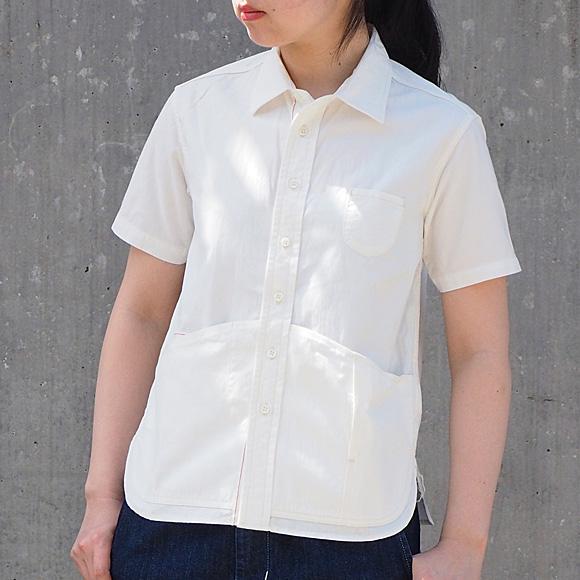 graphzero(グラフゼロ) ヘムポケットシャツ 半袖 ホワイトシャンブレー レディース [GZ-HMPKS-3004-WH-LADIES]