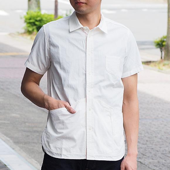graphzero(グラフゼロ) ヘムポケットシャツ 半袖 ホワイトシャンブレー メンズ [GZ-HMPKS-3004-WH-MENS]