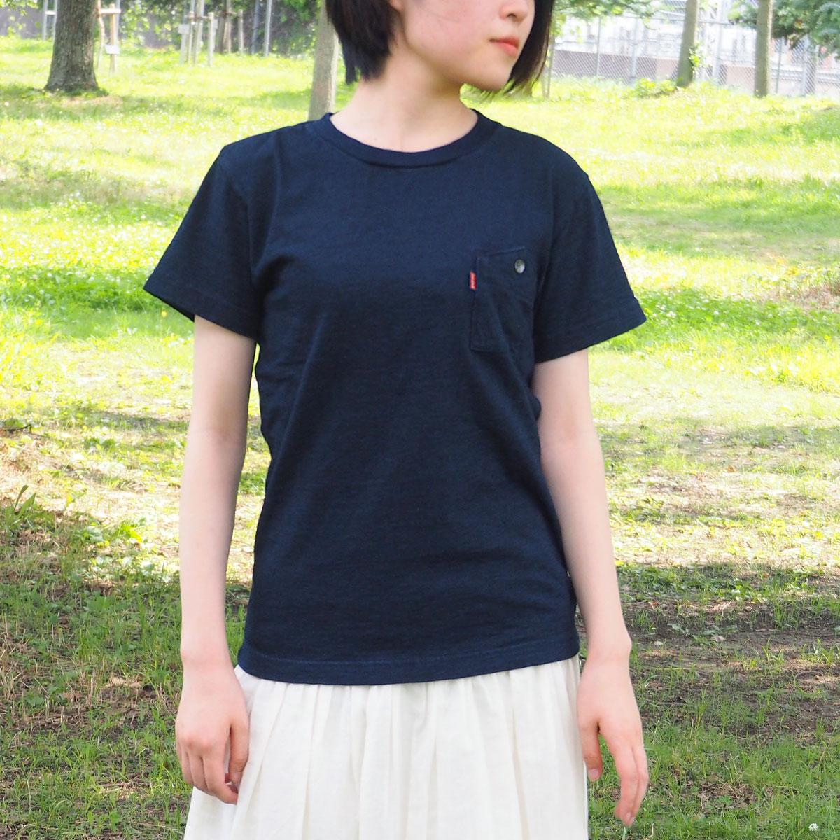 graphzero(グラフゼロ) インディゴロープ染色 山ポケット クルーネックTシャツ レディース [GZ-IDTC-0104-LADIES]