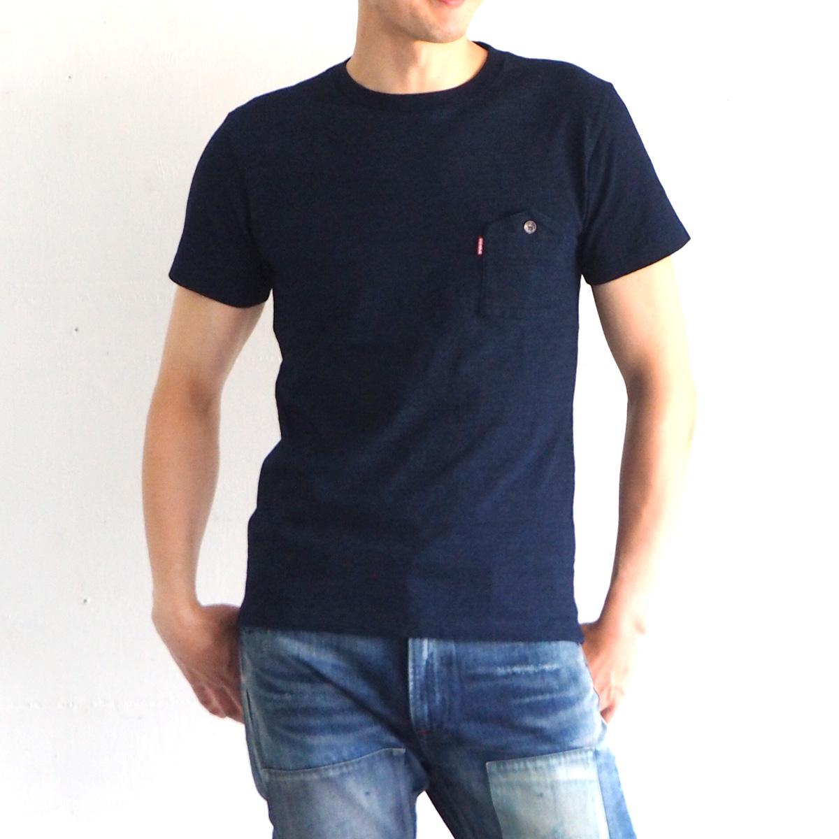 graphzero(グラフゼロ) インディゴロープ染色 山ポケット ヘンリーネックTシャツ メンズ [GZ-IDTC-0104-MENS]