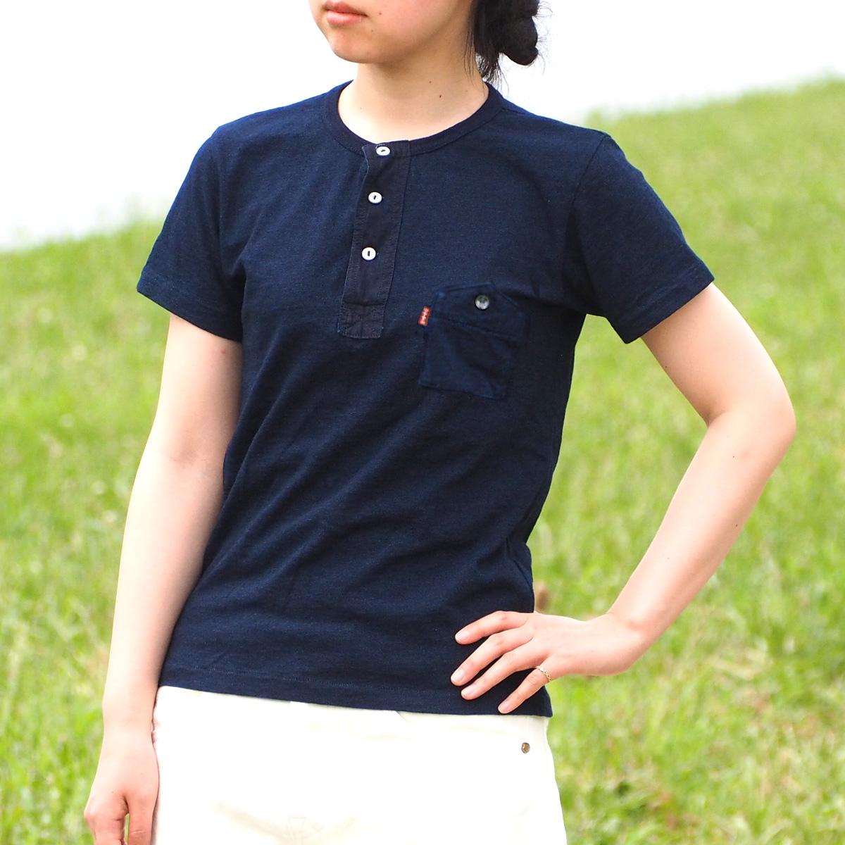graphzero(グラフゼロ) インディゴロープ染色 山ポケット ヘンリーネックTシャツ レディース [GZ-IDTH-0103-LADIES]