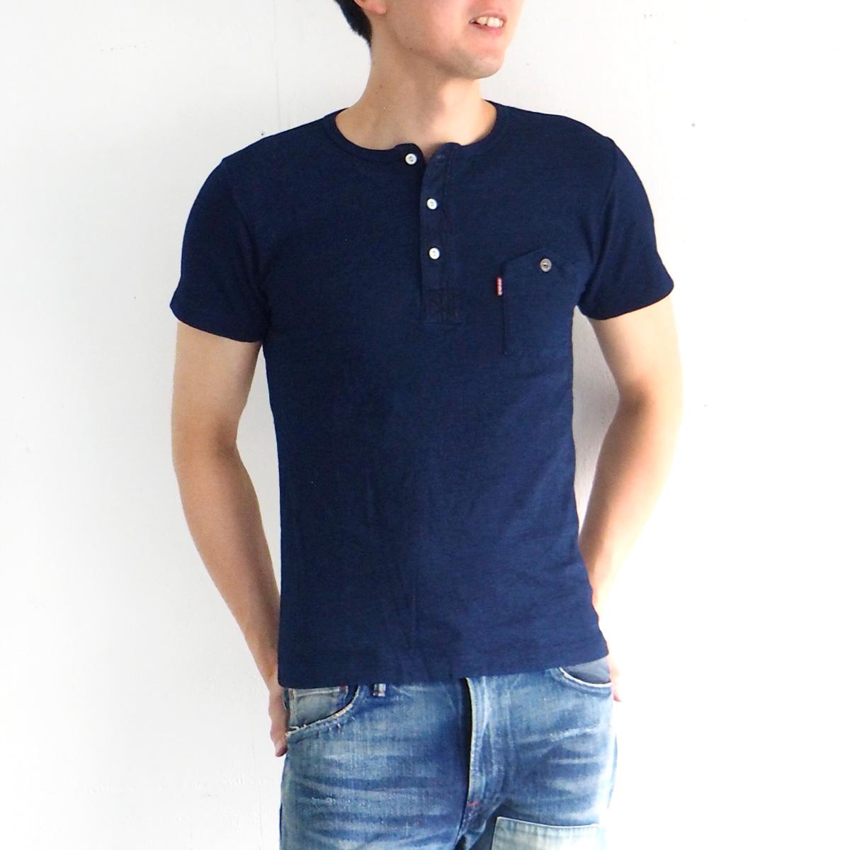 graphzero(グラフゼロ) インディゴロープ染色 山ポケット ヘンリーネックTシャツ メンズ [GZ-IDTH-0103-MENS]