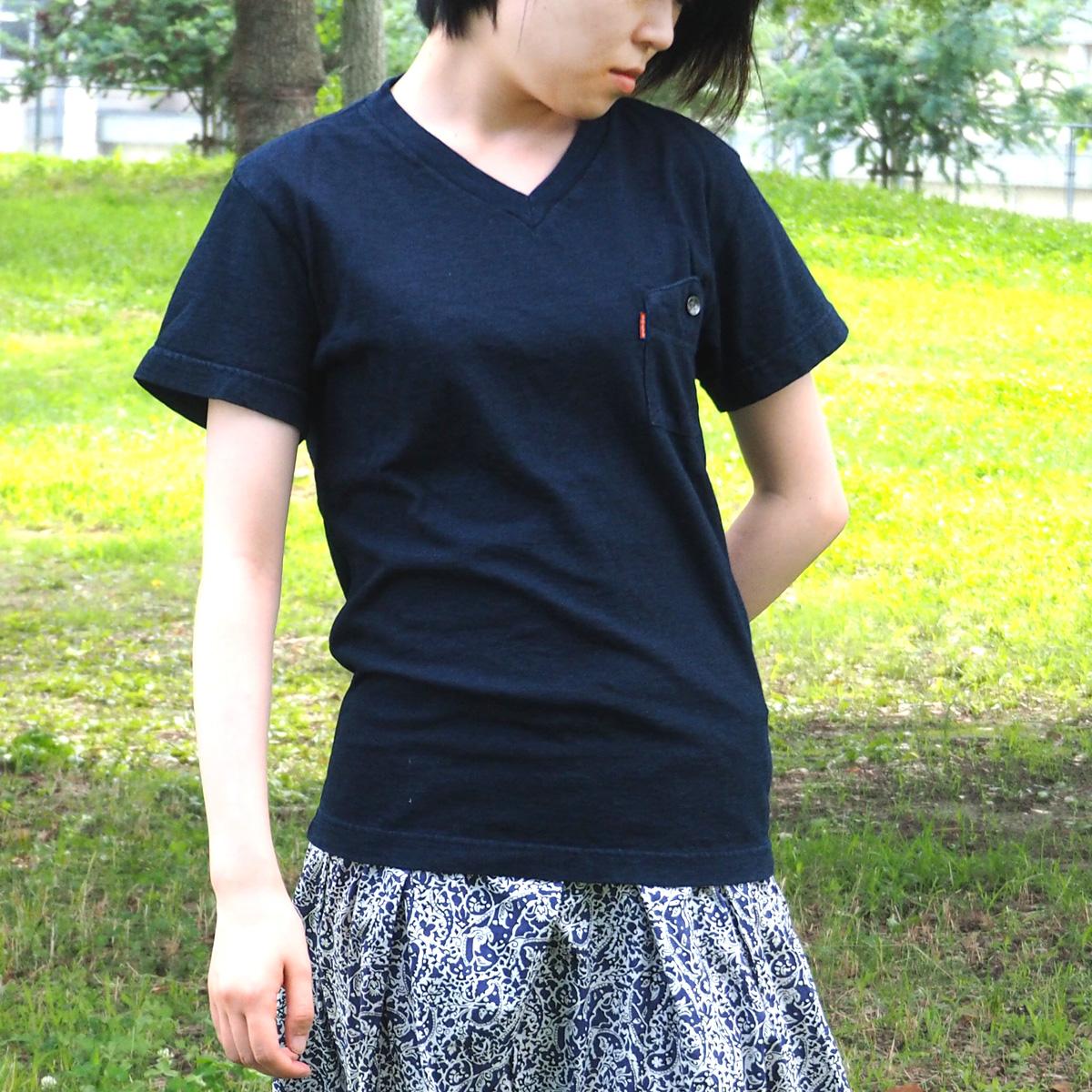 graphzero(グラフゼロ) インディゴロープ染色 山ポケット VネックTシャツ レディース [GZ-IDTV-0104-LADIES]