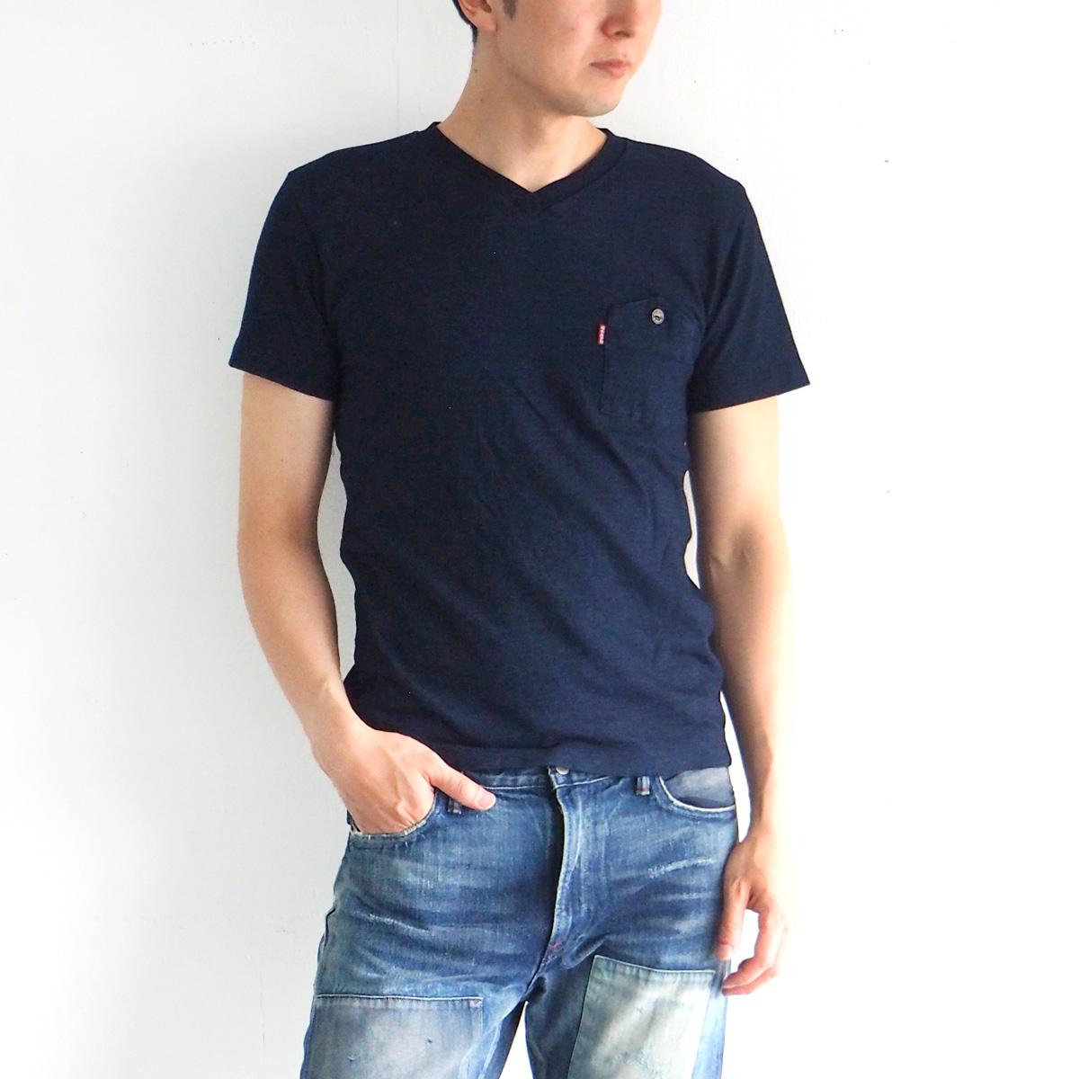 graphzero(グラフゼロ) インディゴロープ染色 山ポケット VネックTシャツ メンズ [GZ-IDTV-0104-MENS]