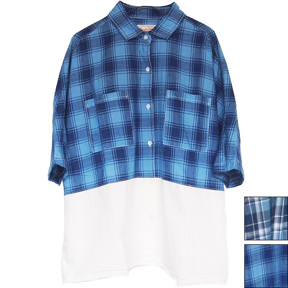 graphzero(グラフゼロ)インディゴチェック ワイドシャツ レディース [GZ-La-WDSH2606]