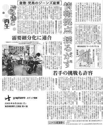 graphzero(グラフゼロ)倉敷・児島発「男前」ジーンズブランド 毎日新聞朝刊・全国版 2006年8月28日号