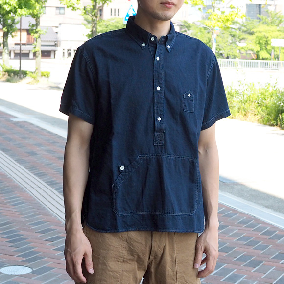 graphzero(グラフゼロ)トラベラーズプルオーバーボタンダウンシャツ 半袖 インディゴ メンズ・レディース