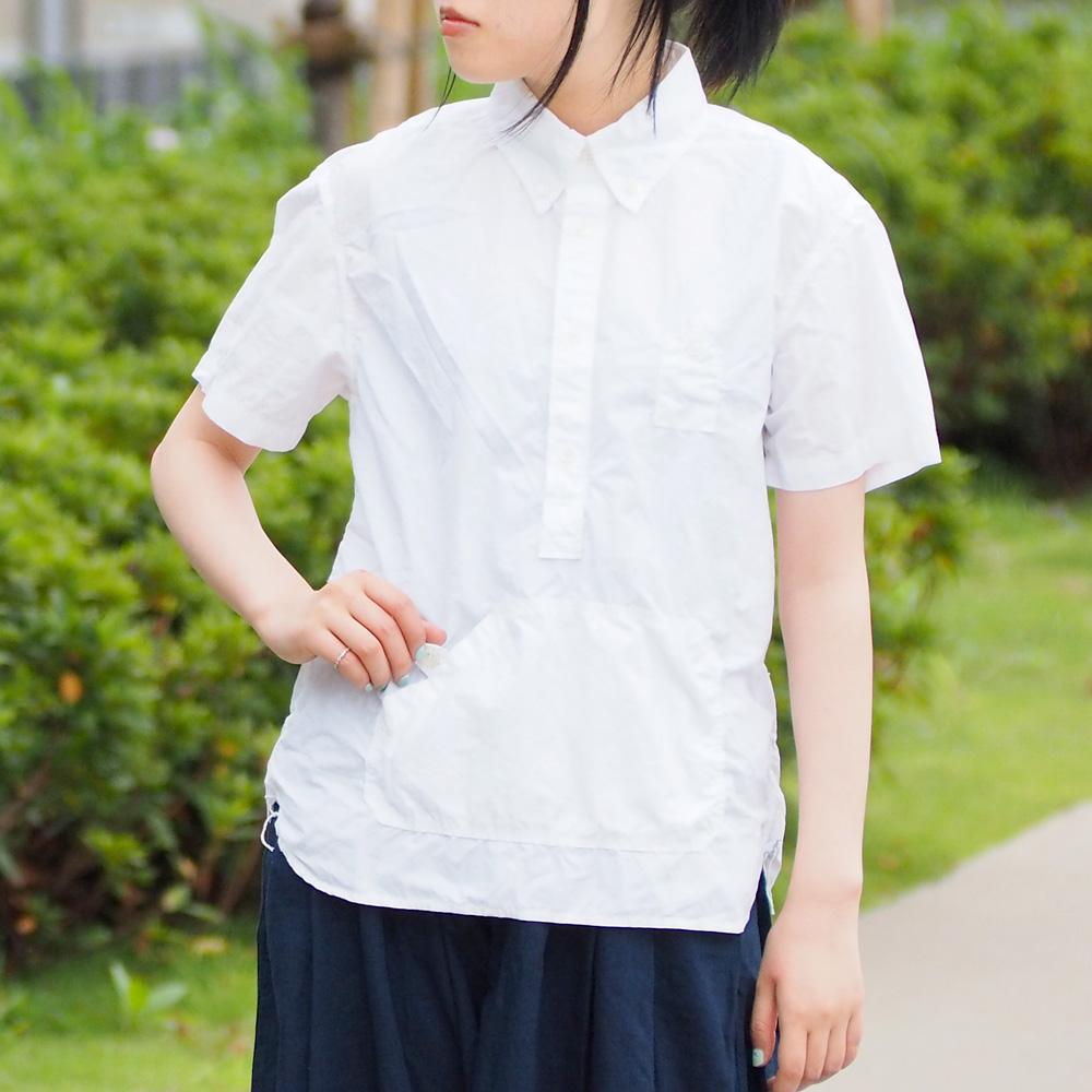 graphzero(グラフゼロ)トラベラーズプルオーバーボタンダウンシャツ 半袖 ホワイト レディース[GZ-PO-SS2806-LA]