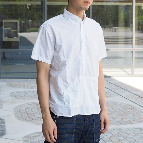 graphzero(グラフゼロ)トラベラーズプルオーバーボタンダウンシャツ 半袖 ホワイト  メンズ[GZ-PO-SS2806-WH]