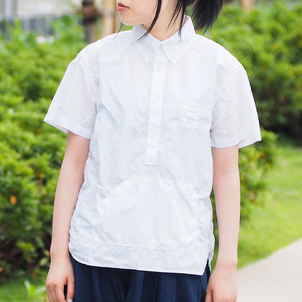 graphzero(グラフゼロ)トラベラーズ プルオーバー ボタンダウンシャツ タイプライタークロス 半袖 ホワイト レディース [GZ-PO-SS3104-WH-LADIES]
