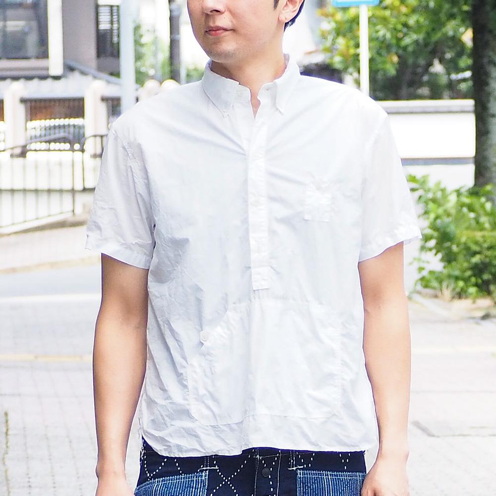 >graphzero(グラフゼロ) トラベラーズ プルオーバー ボタンダウンシャツ タイプライタークロス 半袖 ホワイト メンズ [GZ-PO-SS3104-WH-MENS]