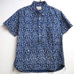 graphzero(グラフゼロ)トラベラーズプルオーバーボタンダウンシャツ 半袖 インディゴ抜染 ペイズリー メンズ・レディース [GZ-PO-SSSH2707-PS]