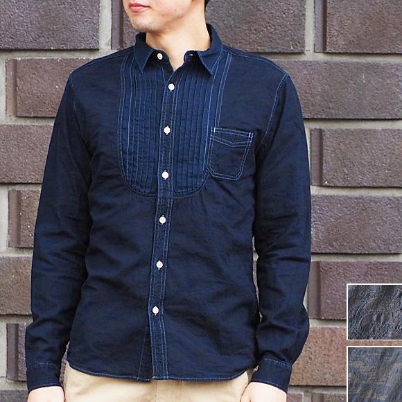【2柄から選べます】graphzero(グラフゼロ) プリ—テッドドレスシャツ インディゴロープ染色 ペイズリー 迷彩 メンズ [GZ-PTDL-2911-MENS]
