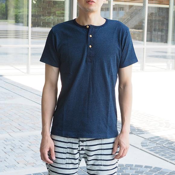 graphzero(グラフゼロ)インディゴヘンリーネックTシャツ メンズ・レディース [GZ-TH13-ID]