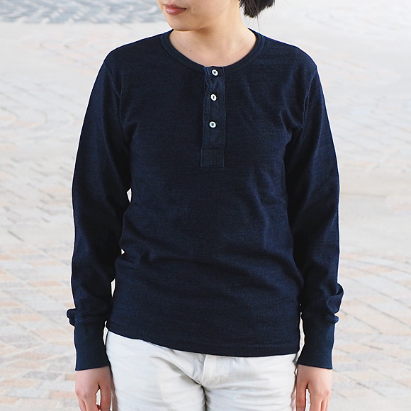 graphzero(グラフゼロ) インディゴ ロープ染色 ヘンリーネックTシャツ 長袖 [GZ-THL29-ID-LADIES]