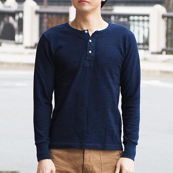 graphzero(グラフゼロ) インディゴ ロープ染色 ヘンリーネックTシャツ 長袖 レディース [GZ-THL29-ID-MENS]