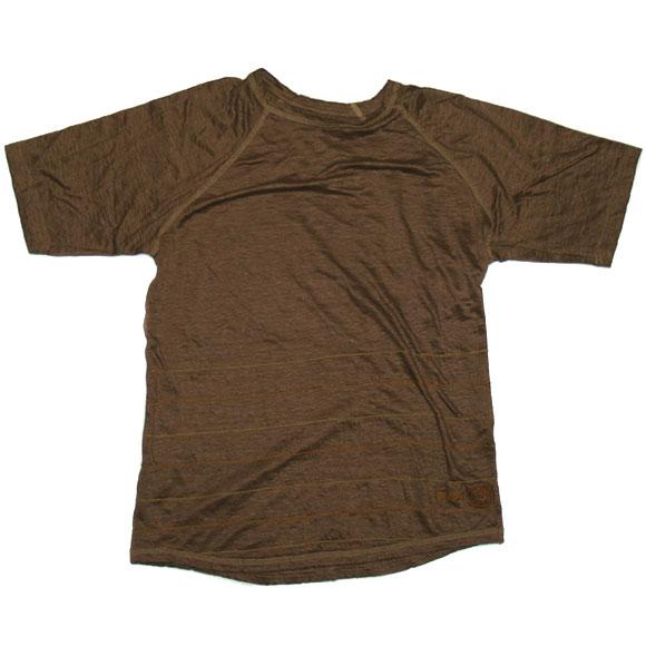 graphzero(グラフゼロ) ボーダーチェーンステッチ リネンTシャツ 半袖 ブラウン [GZ-TS-ST-BR01]