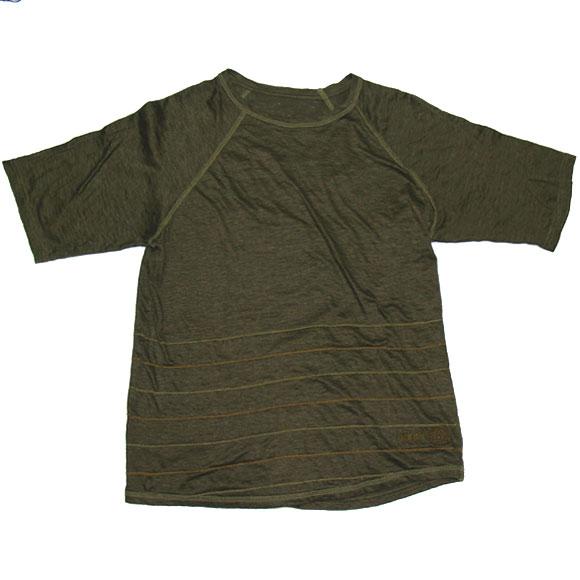 graphzero(グラフゼロ) ボーダーチェーンステッチ リネンTシャツ 半袖 カーキ [GZ-TS-ST-KH01]