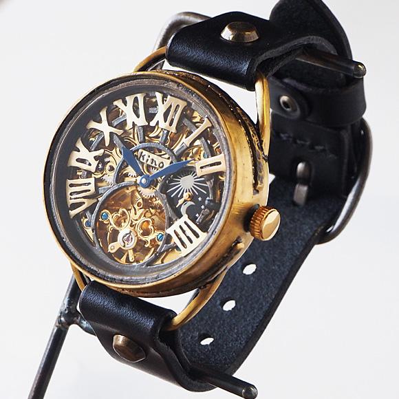 KINO(キノ) 時計作家 木野内 芳祐さんの手作り腕時計 自動巻き 裏スケルトン クラウン SUN&MOON [K-11]