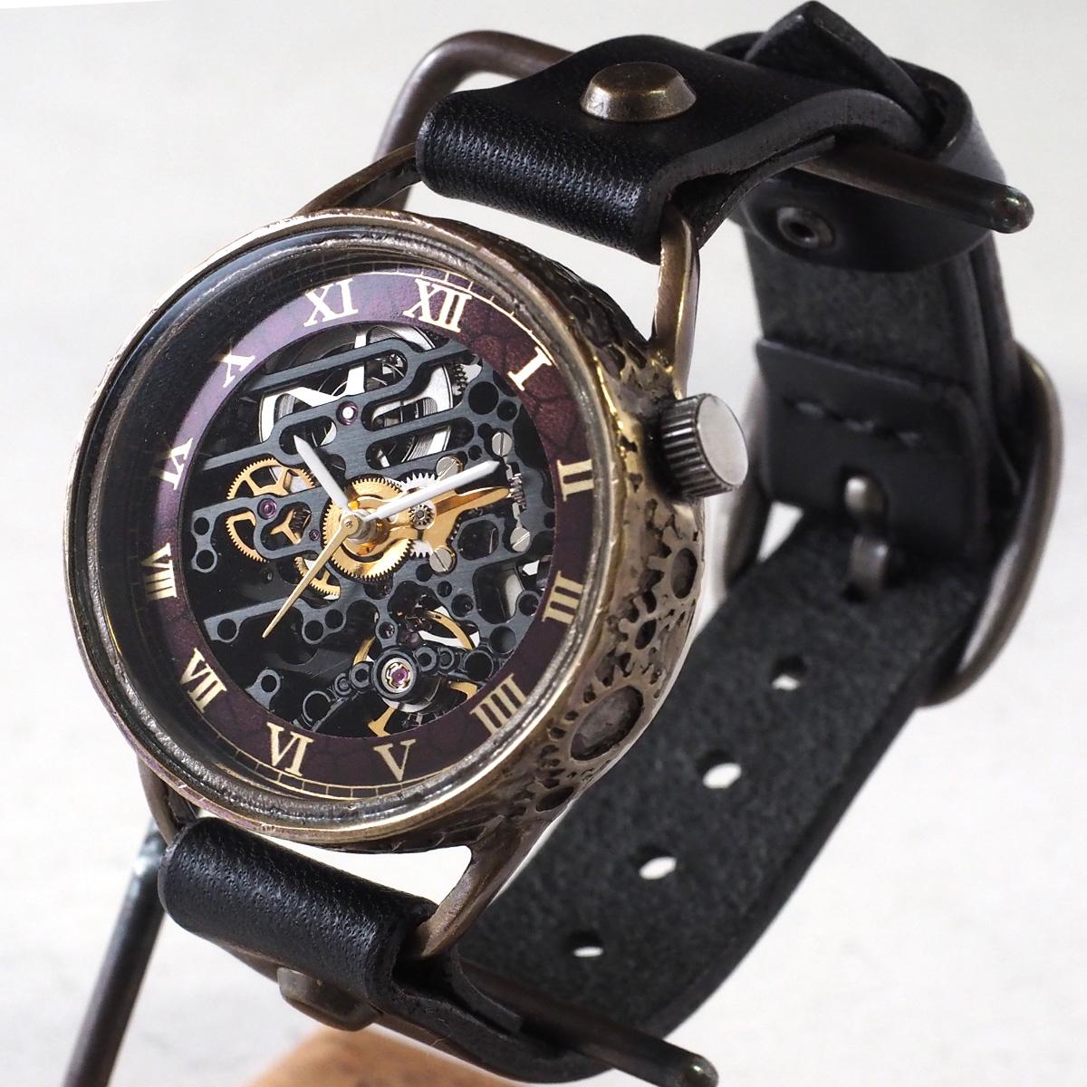 KINO(キノ) 手作り腕時計 自動巻き 裏スケルトン メカニックブラック ブラック